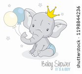 Stock vector baby shower boy cute elephant with balloons 1198844236