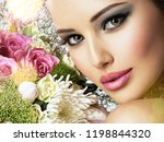 beautiful woman with  bouquet... | Shutterstock . vector #1198844320
