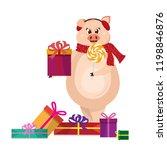 cute pig in warm headphones...   Shutterstock .eps vector #1198846876