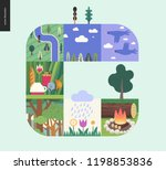 simple things   forest set on a ... | Shutterstock .eps vector #1198853836