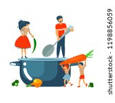 happy family cooking together a ... | Shutterstock .eps vector #1198856059