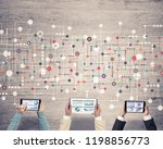 group of three people with... | Shutterstock . vector #1198856773