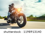 motorbike on the forest road... | Shutterstock . vector #1198913140
