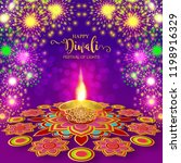happy diwali festival card with ... | Shutterstock .eps vector #1198916329