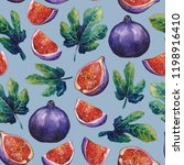 watercolor fig fruits and... | Shutterstock . vector #1198916410