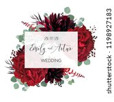 wedding vector floral invite ... | Shutterstock .eps vector #1198927183