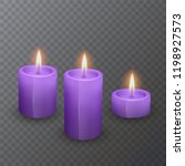 realistic candles of purple... | Shutterstock .eps vector #1198927573