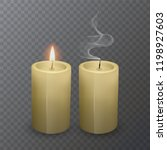 burning and an extinct candle... | Shutterstock .eps vector #1198927603