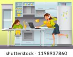 working mother concept. busy... | Shutterstock .eps vector #1198937860