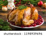 whole rosted chicken with... | Shutterstock . vector #1198939696