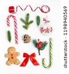 flat lay christmas composition... | Shutterstock . vector #1198940569