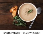 cream soup with mushrooms and ... | Shutterstock . vector #1198945330