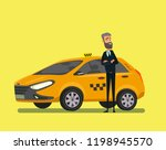 friendly taxi driver at the... | Shutterstock .eps vector #1198945570