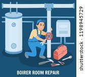 boiler room repair. plumber at... | Shutterstock .eps vector #1198945729