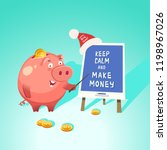 money box cute piggy bank with... | Shutterstock .eps vector #1198967026