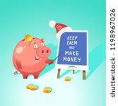 money box cute piggy bank with... | Shutterstock .eps vector #1198967026