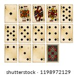 playing cards of spades suit in ... | Shutterstock .eps vector #1198972129