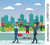 city people walking cartoons | Shutterstock .eps vector #1198973710