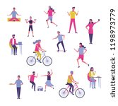 set of people exercising and... | Shutterstock .eps vector #1198973779