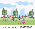 group of people at park in... | Shutterstock .eps vector #1198973800