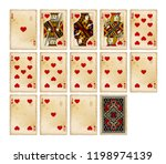 playing cards of hearts suit in ... | Shutterstock .eps vector #1198974139