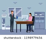 business colleagues discuss work | Shutterstock .eps vector #1198979656