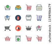 basket icon set. vector set... | Shutterstock .eps vector #1198986679