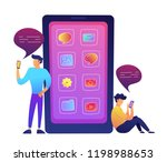 huge smartphone with apps icons ... | Shutterstock .eps vector #1198988653