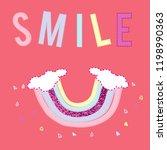 text rainbow heart girl tee...   Shutterstock .eps vector #1198990363