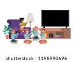 children reading in living room ...   Shutterstock .eps vector #1198990696
