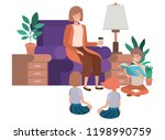 woman with children in living... | Shutterstock .eps vector #1198990759