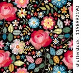 embroidery seamless pattern... | Shutterstock .eps vector #1198992190