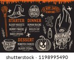 halloween menu with holiday...   Shutterstock .eps vector #1198995490