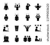 emotional stress glyph icons... | Shutterstock .eps vector #1199003620