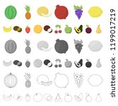 different fruits cartoon icons... | Shutterstock .eps vector #1199017219
