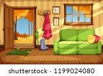 vector cozy autumn room... | Shutterstock .eps vector #1199024080