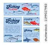 fish banners. seafood   cartoon ... | Shutterstock .eps vector #1199027983