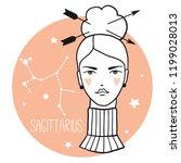 sagittarius girl. sketch style... | Shutterstock .eps vector #1199028013