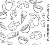 dairy product seamless pattern. ... | Shutterstock .eps vector #1199028700