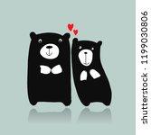 funny bears family  sketch for... | Shutterstock .eps vector #1199030806