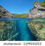 a passage between rocks on the...   Shutterstock . vector #1199031013