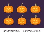 set of halloween pumpkin with... | Shutterstock .eps vector #1199033416
