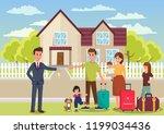 family buys house. broker... | Shutterstock .eps vector #1199034436