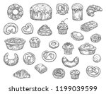 bread  buns  cakes and pastry... | Shutterstock .eps vector #1199039599