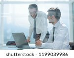 happy employees  happy about...   Shutterstock . vector #1199039986