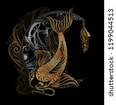 hand drawn asian spiritual... | Shutterstock .eps vector #1199044513