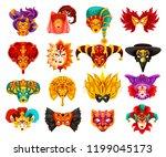 venetian carnival masks ... | Shutterstock .eps vector #1199045173