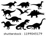 Dinosaurs and Jurassic dino monsters icons. Vector silhouette of triceratops or T-rex, brontosaurus or pterodactyl and stegosaurus, pteranodon or ceratosaurus and parasaurolophus reptile
