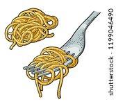 spaghetti on fork. vector... | Shutterstock .eps vector #1199046490