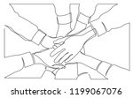 continuous line drawing of team ... | Shutterstock .eps vector #1199067076